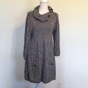 Style & Co Button Cowl Neck Sweater Dress Sz L